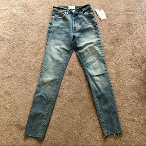 Free People Button High Waist Skinny Jeans